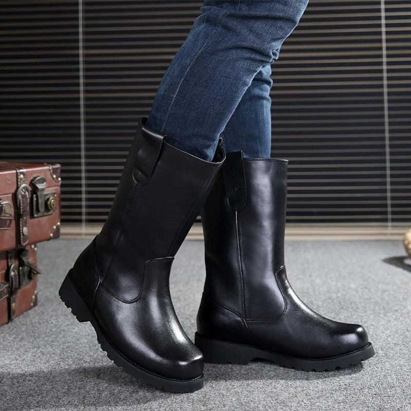 2015冬季新款真皮套筒男靴羊毛中筒牛皮短靴阅兵军靴工装马靴