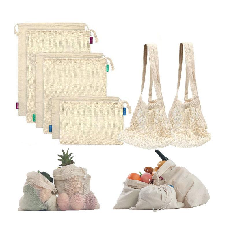 PP涤纶超市购物网袋手提 可装蒜头蔬菜水果网袋网兜带抽绳网布袋