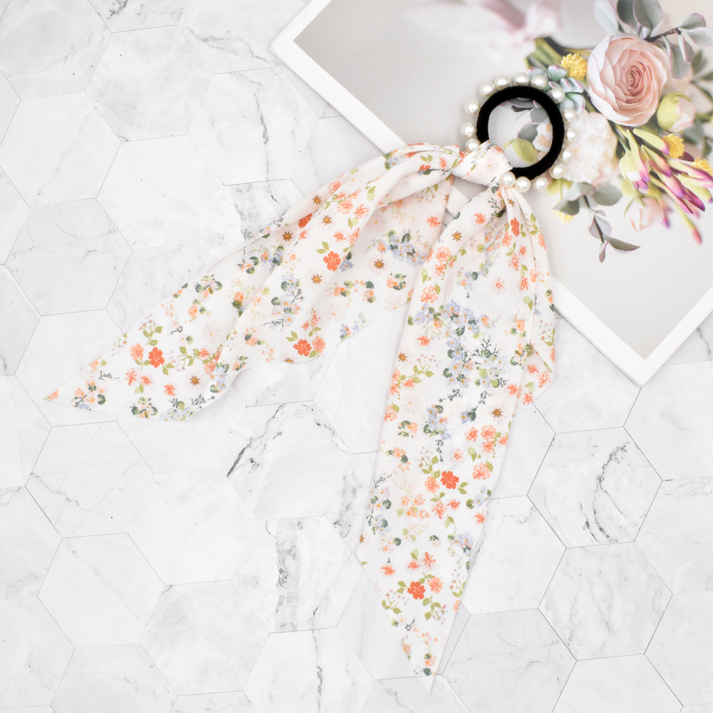 Korean Style Small Floral Printed Fabric Pearl Hair Scrunchies NHCL355307