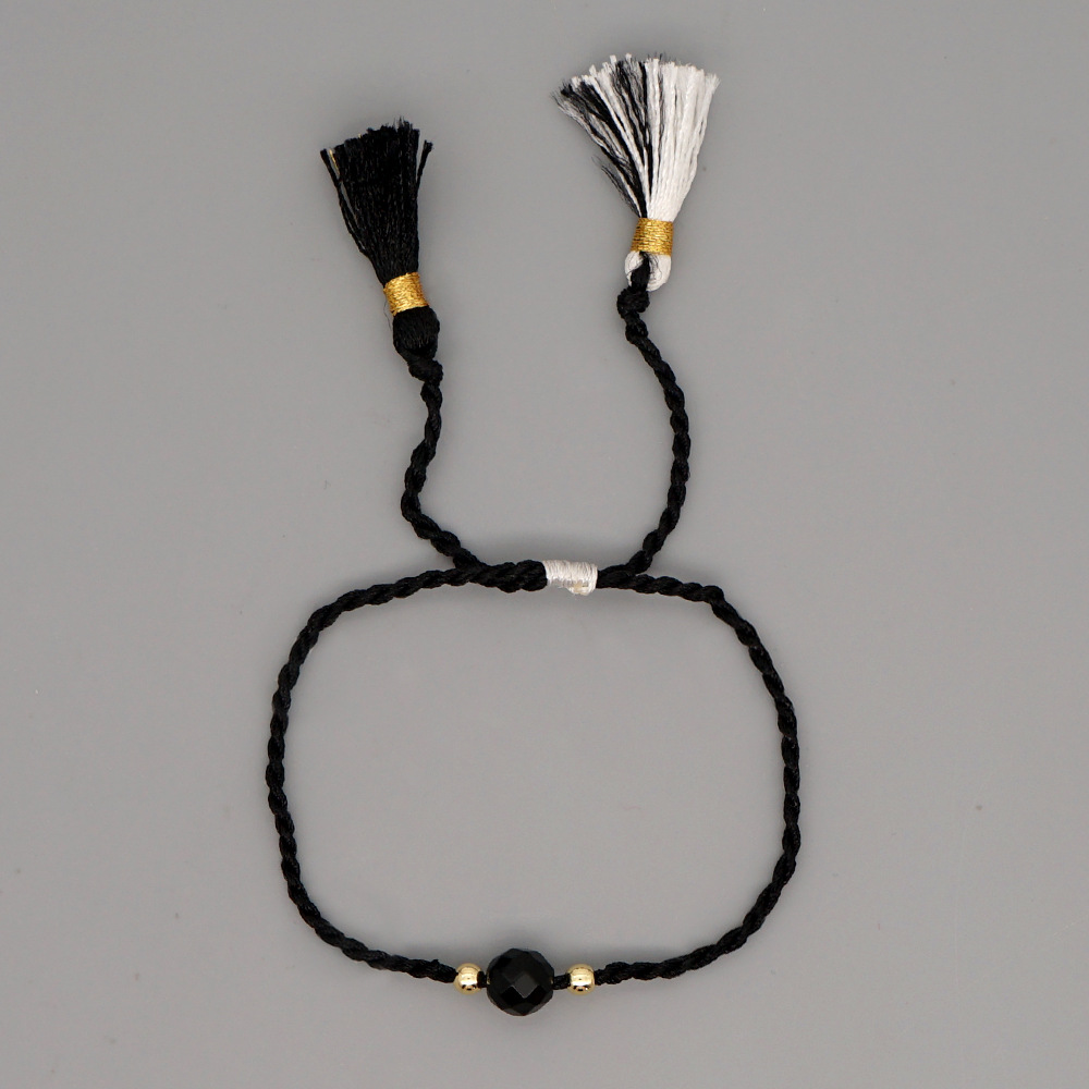 creative bohemian ethnic style 6mm beaded tassel bracelet NHGW316637