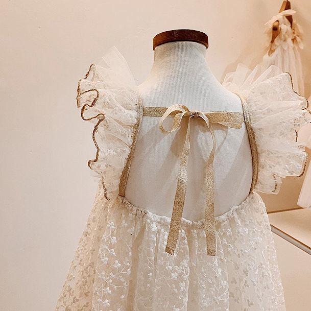 韩国童装飞袖欧根纱女童儿童夏款连衣裙宝宝洋气中小童蕾裙仙
