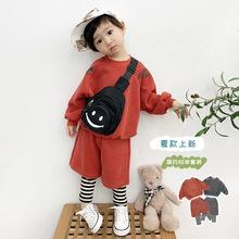 韓國運動兒童男童套裝春2021新款小童衛衣兩件套寶寶衣服一件代貨