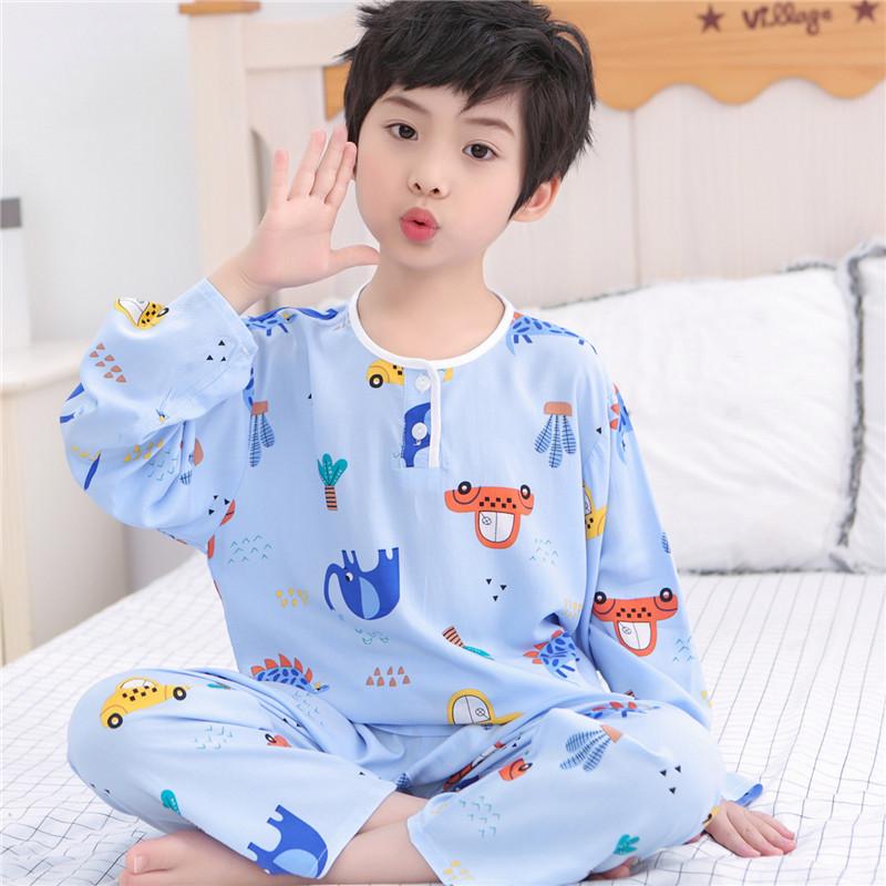 夏季儿童棉绸睡衣男童女童宝宝绵绸小孩长袖夏天薄款男孩空调套装