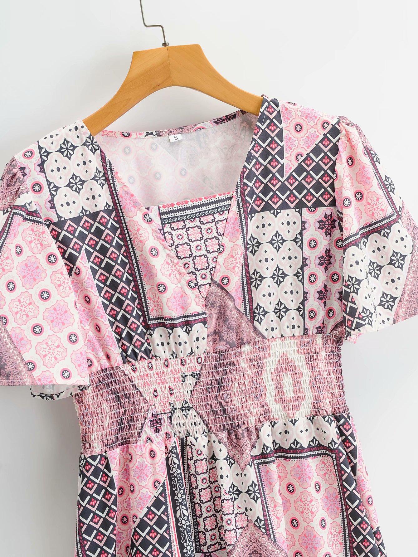 vestido de manga corta con estampado de cintura con cuello en V de longitud media NHAM314384