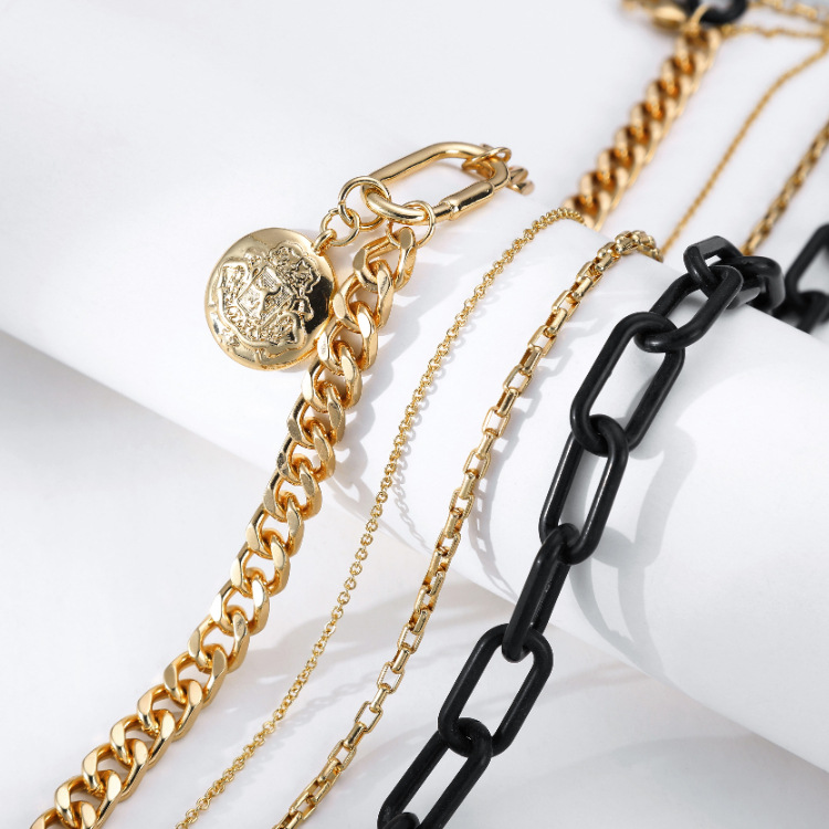 Fashion geometric multilayer chain alloy necklace wholesale NHBD342281