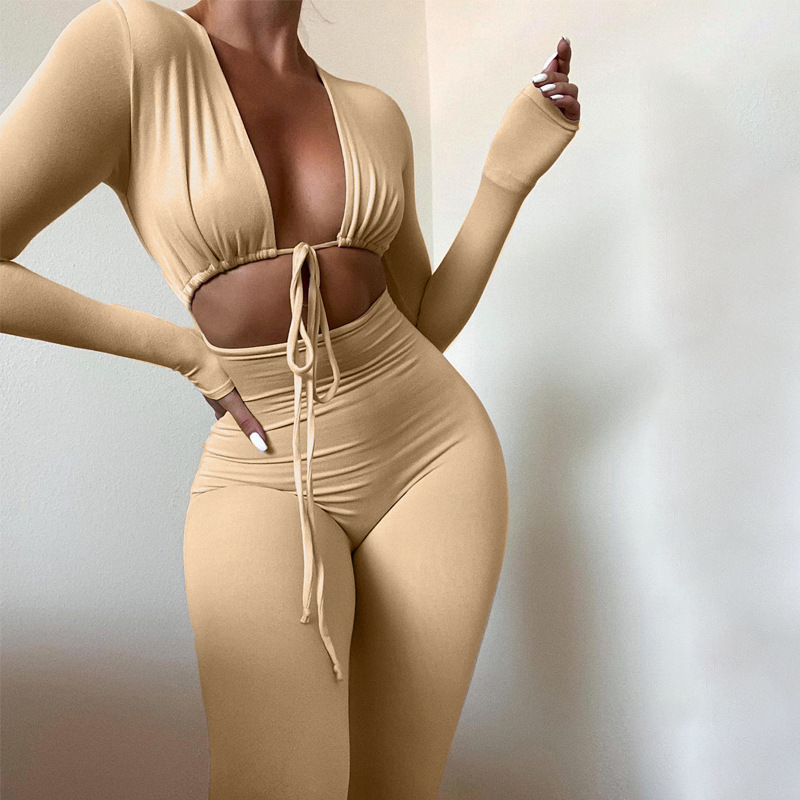 women's solid color lace-up long-sleeved tight-fitting jumpsuit nihaostyles clothing wholesale NSLJ76035