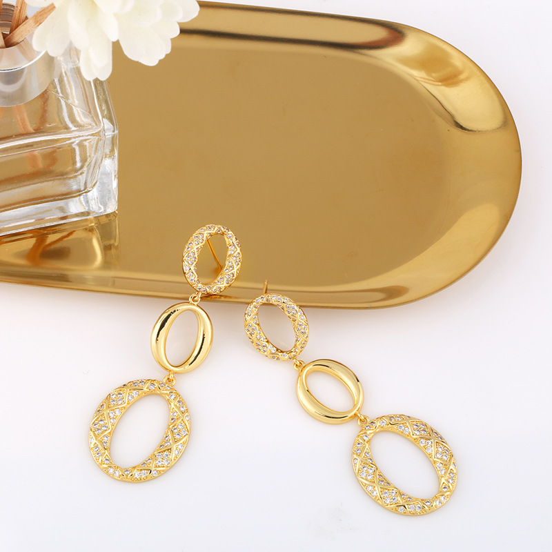 new trendy oval exaggerated earrings NHAS311768
