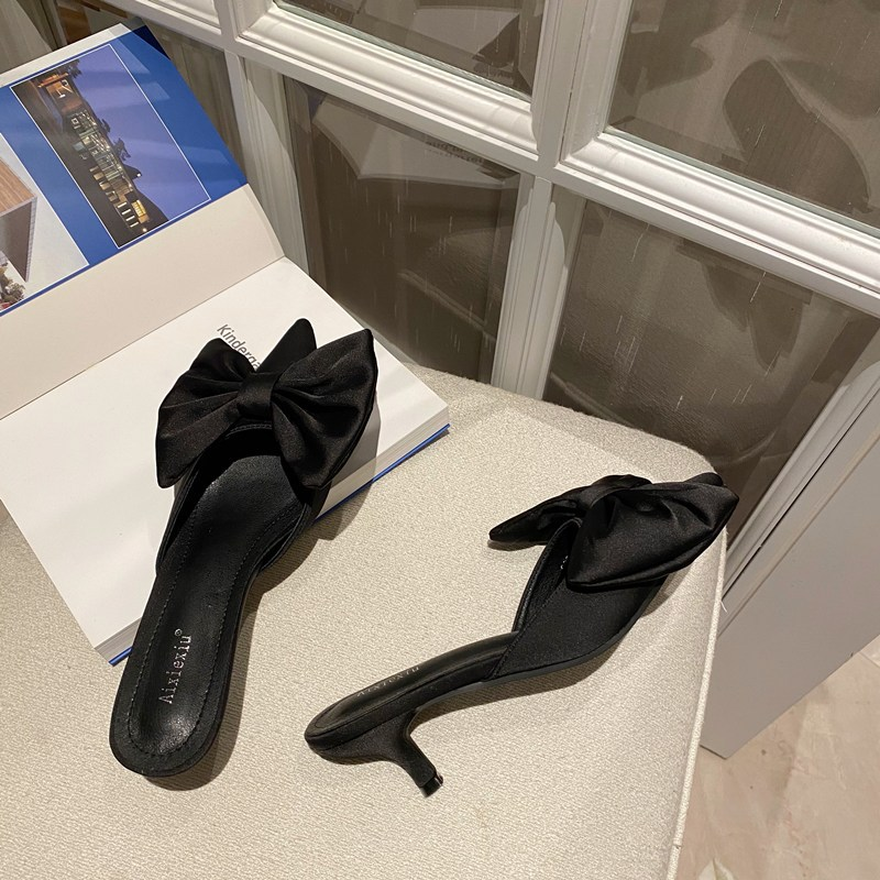 Bowknot Pointed Satin Slippers  NHCA299637