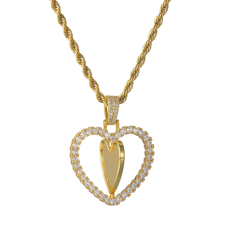 wholesale jewelry rotating heart copper necklace Nihaojewelry NHHF384141