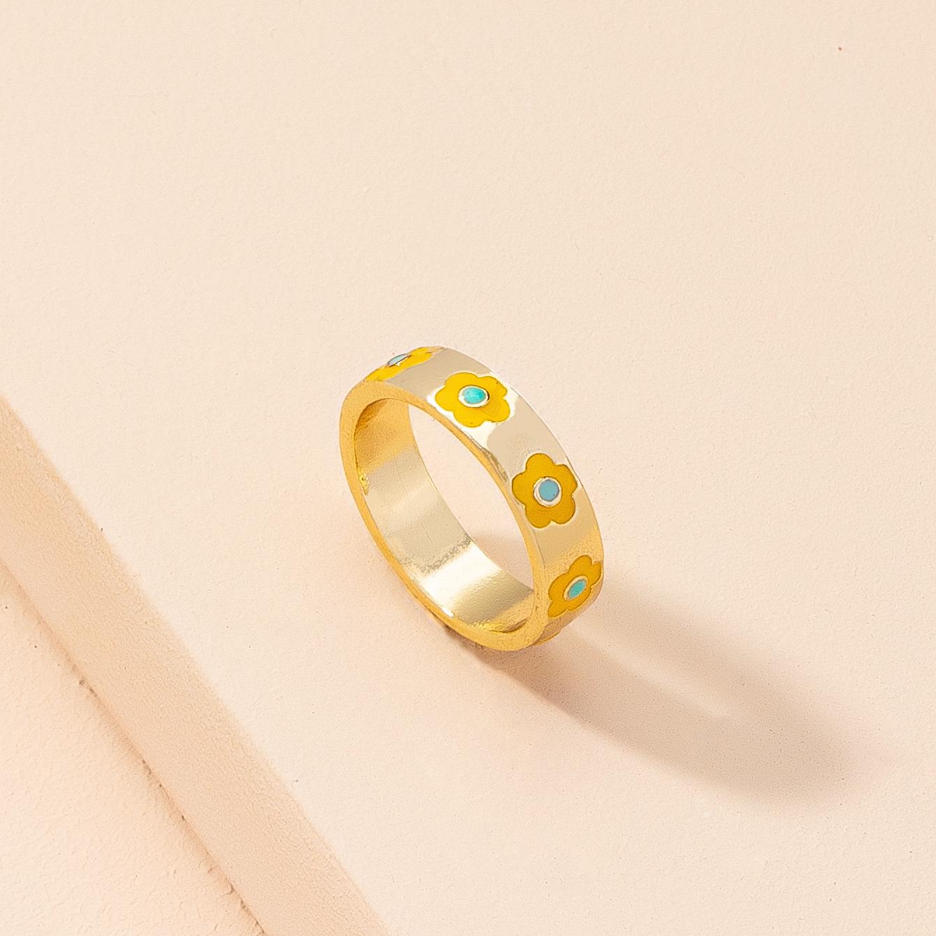 Korean carved flower geometric alloy ring wholesale  NHAI368256