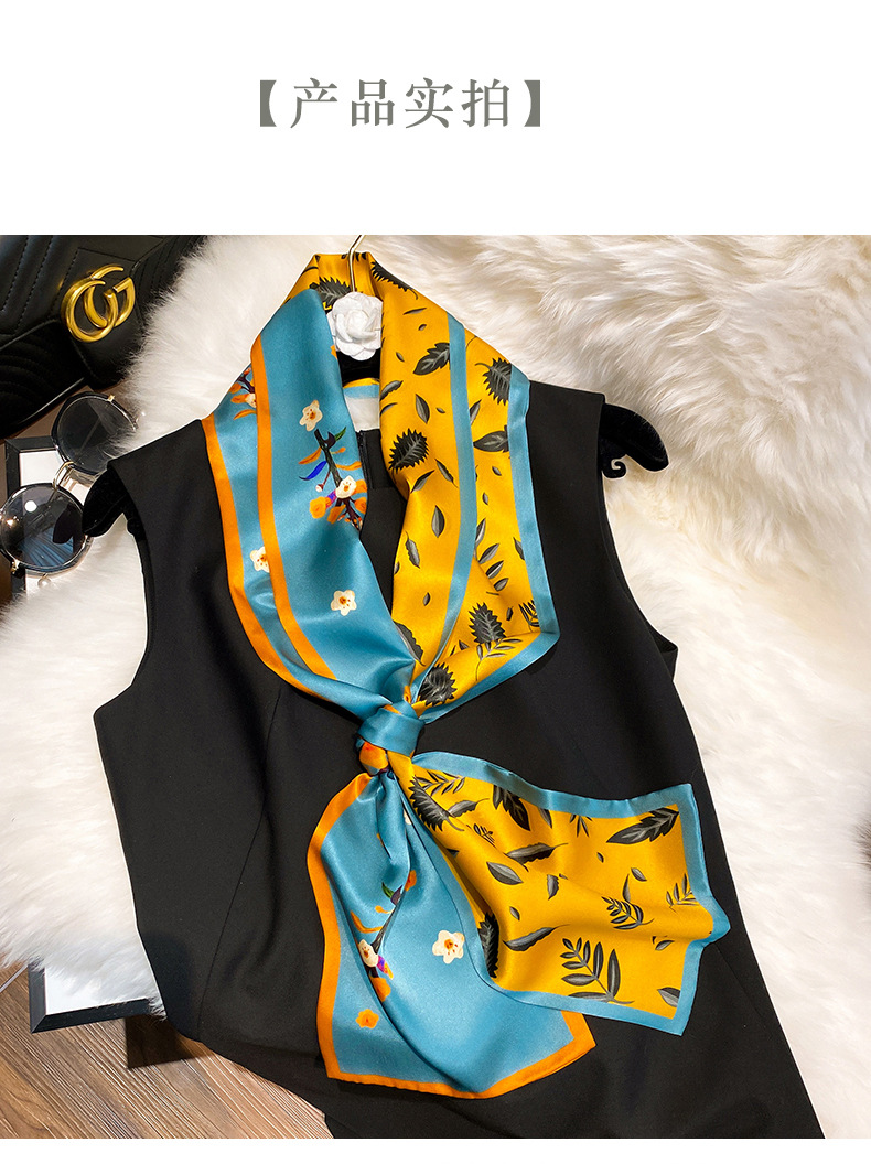 Yellow green flowers thin and narrow silk scarves wholesale NHCJ340601