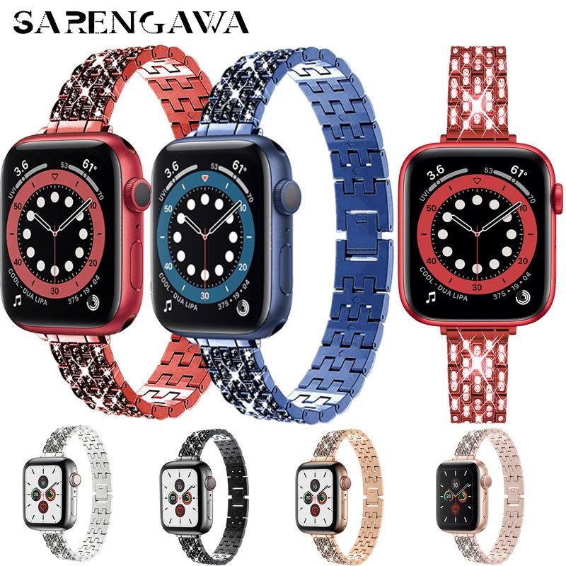 适用苹果手表不锈钢带apple watch满钻金属表链iWatch小蛮腰镶钻