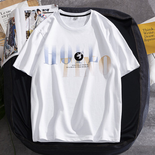 Short-sleeved t-shirt men 2021 summer new men's t-shirt cotton top loose trend short-sleeved t-shirt casual couple wear