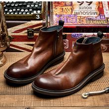 英伦切尔西靴真皮复古马丁靴中帮男靴子高帮皮鞋短靴潮工装靴皮靴