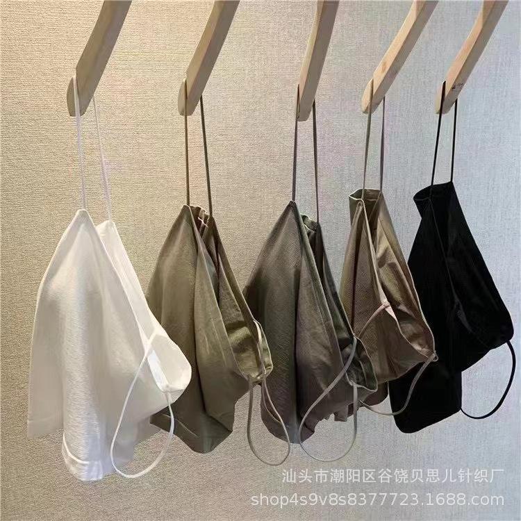 1803新款无缝冰丝吊带背心一体式美背裹胸内搭外穿固定杯垫小背心