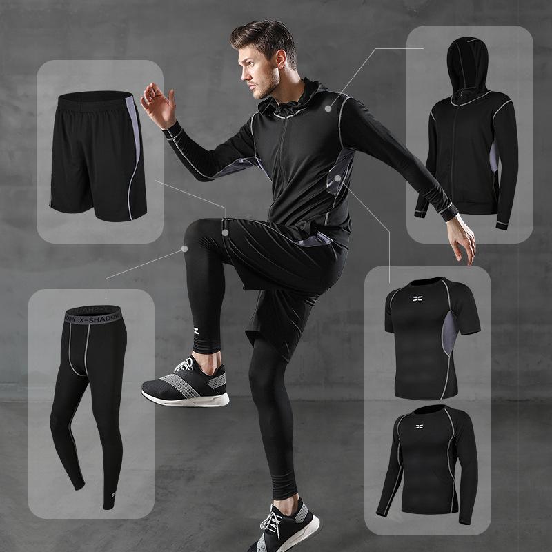 跑步运动套装男休闲男士健身服运动短裤速干紧身衣短袖训练运动装