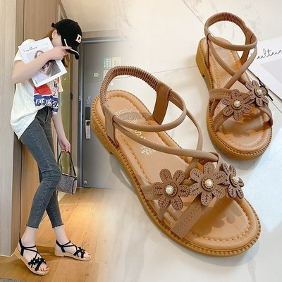 Bohemian sandals girl student flat bottom flower belt ROMAN SANDALS BEACH SHOES