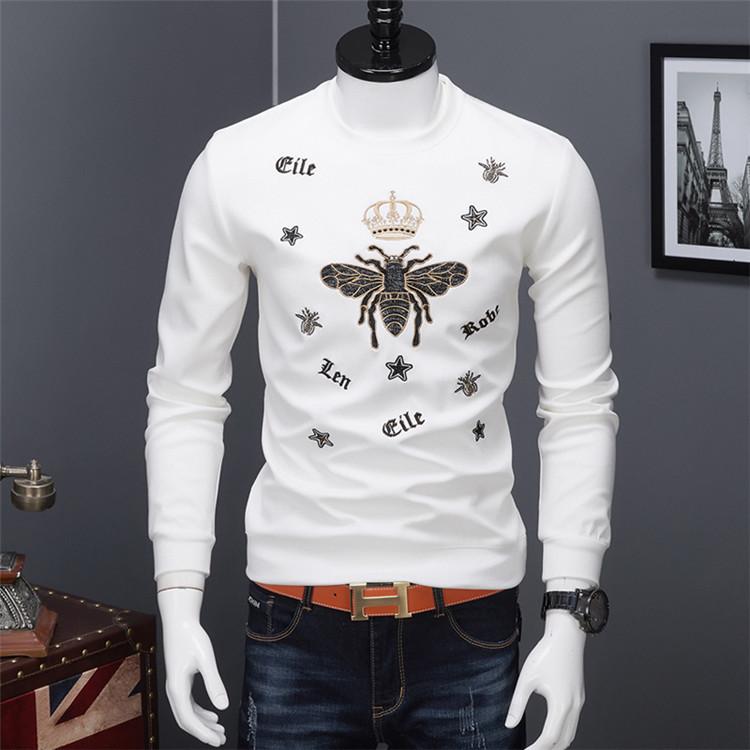 欧洲站小蜜蜂刺绣长袖卫衣男士潮牌T恤潮流春秋季欧货时尚上衣服
