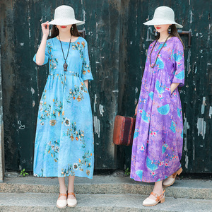 Cotton and linen dress women Plus size Dresses morning wear large print over the knee sleeve skirt fashion