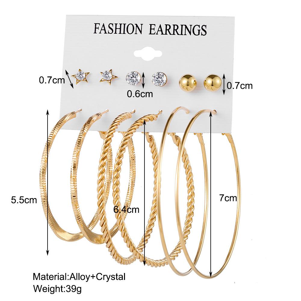 wholesale jewelry metal circle chain heart pin butterfly earrings 6piece set Nihaojewelry NHPJ386835