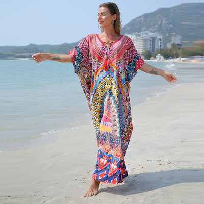 Quick-drying fabric for beach dress Ethnic beach dress for women floral Holiday dress Women's bikini swimsuit outer cover maxi dress