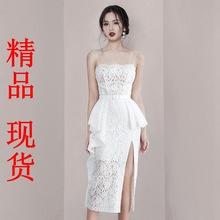 法式禮服裙設計感開叉中長裙白色蕾絲吊帶顯瘦氣質修身度假連衣裙