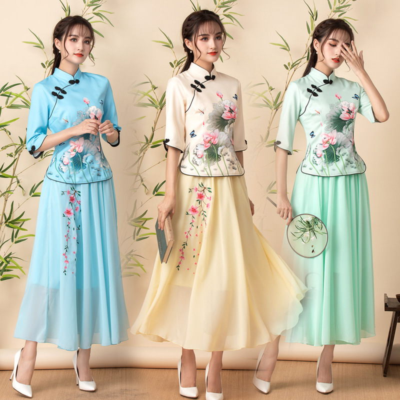 Chinese dresses for women oriental qipao cheongsam Chinese style lotus printed Tang suit top skirt Women's plus size cheongsam