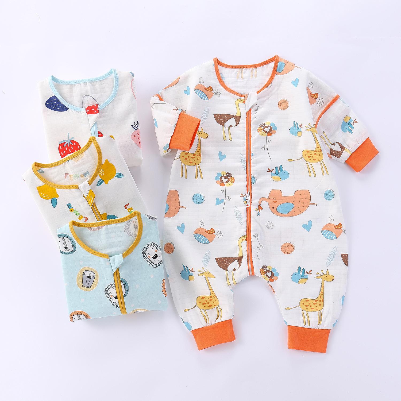 婴儿纱布睡袋纯棉卡通连体睡衣儿童分腿睡袋春秋夏薄款宝宝防踢被