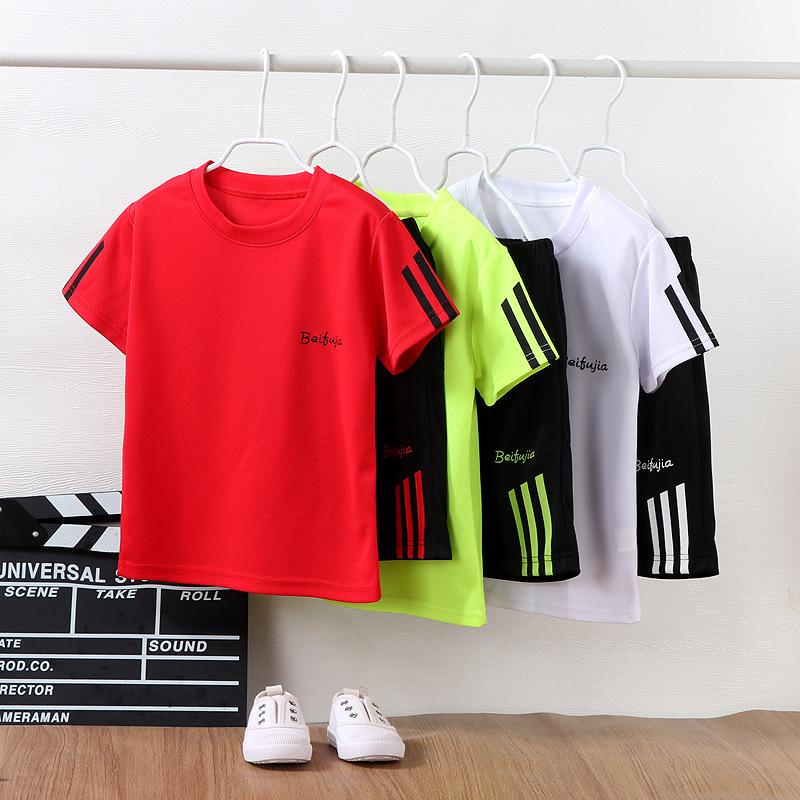 儿童短袖套装夏季2021新款男童T恤运动速干衣短裤中大童衣服童装