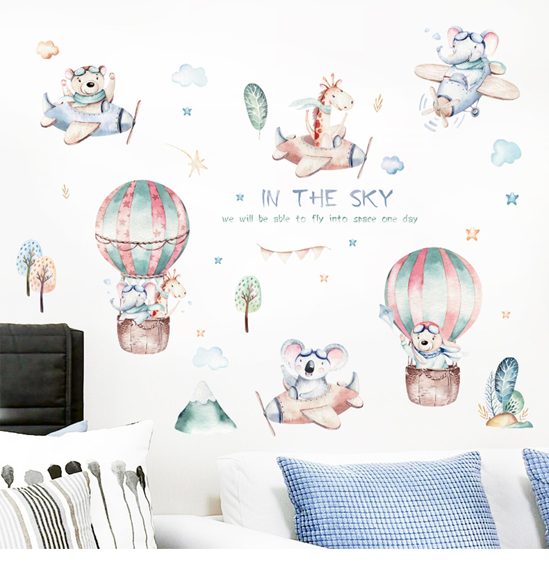 Cartoon clouds little like airplane balloons wall stickers NHAF314936