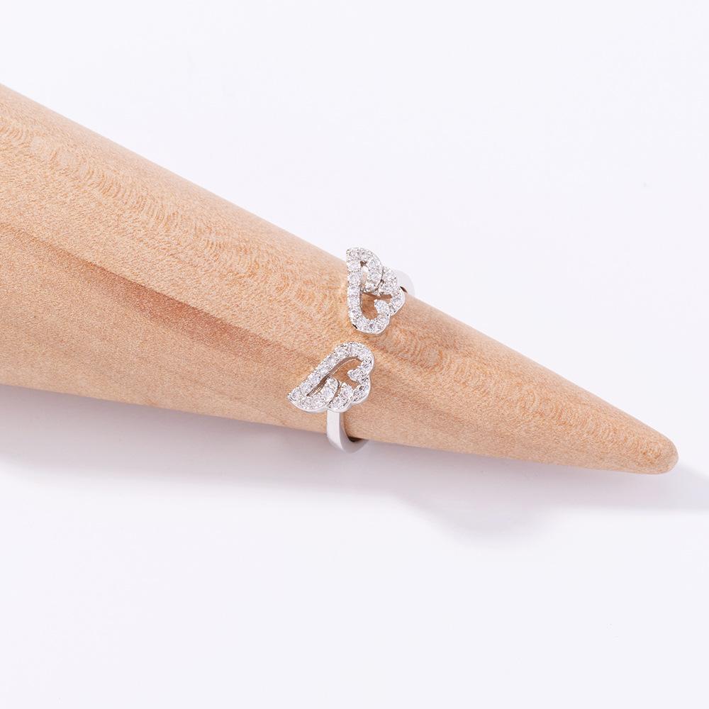 fashion microinlaid zircon wings opening adjustable ring NHAN368083