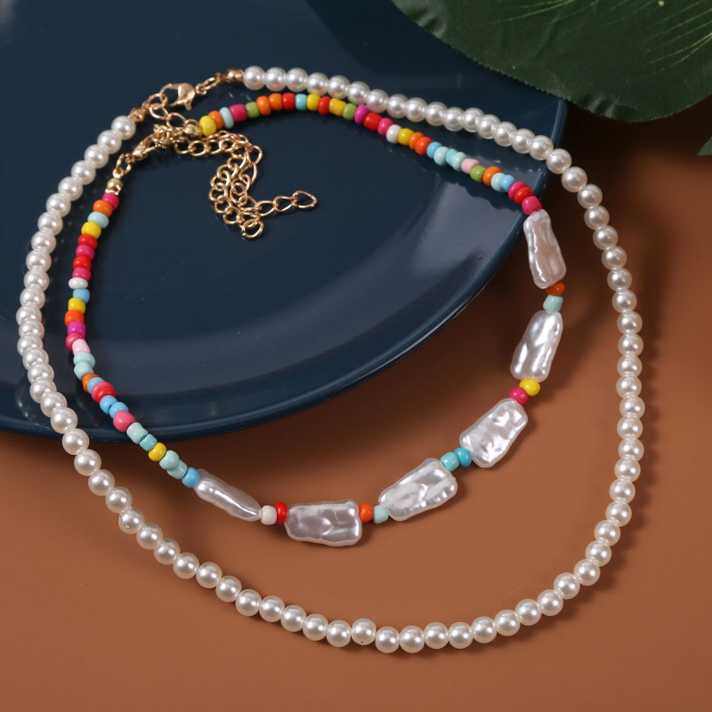 Bohemian Handmade Pearl Beads Multilayer Necklace  NHLA361260