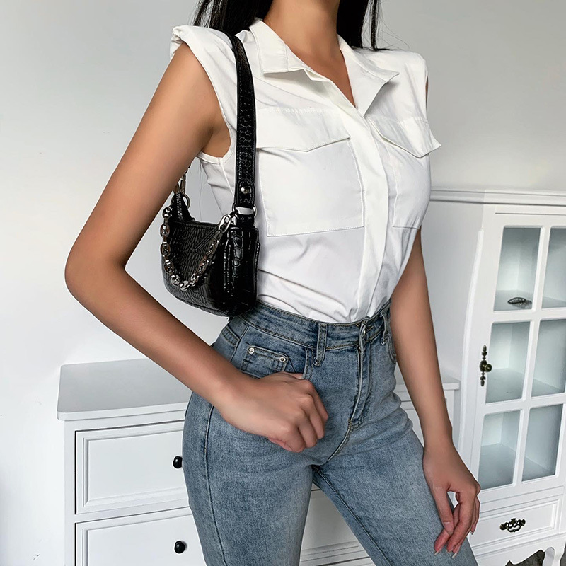 20924p sleeveless shoulder pad Slim Fit Shirt for women's summer new ladies high cool wind bottom top