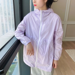 Summer women's anti-ultraviolet sunscreen jacket Korean style light and loose loose fashion brand loose mid-length long-sleeved sunscreen clothing