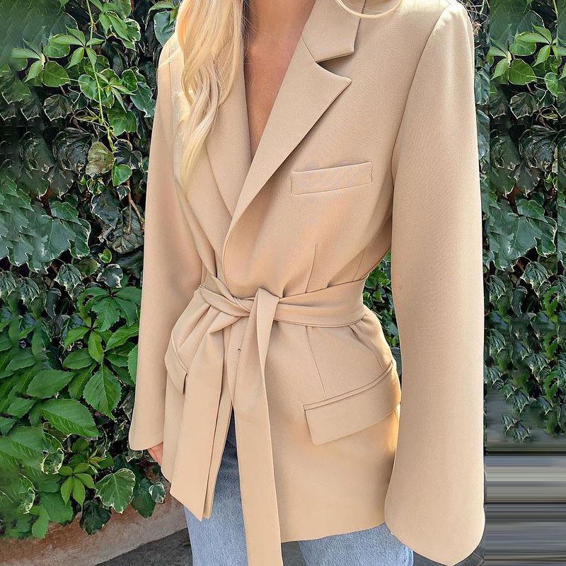 Adjustable Corset Blazer, Tied Waist Long Sleeve Blazer Jacket for Women (Khaki)