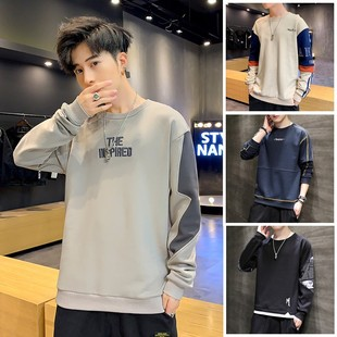 Sweater men's 2021 new spring and autumn wear round neck long-sleeved trendy loose bottoming shirt spring couple top clothes