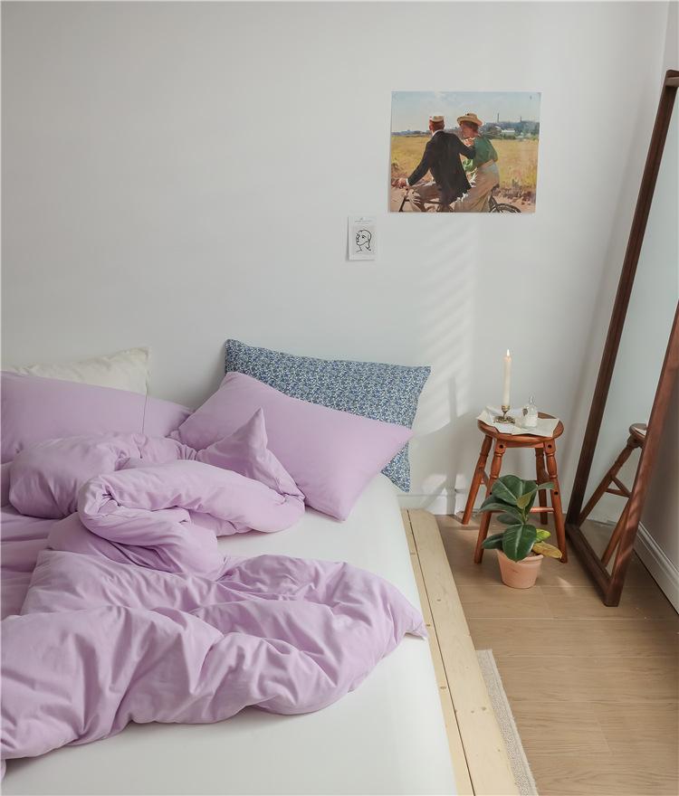 韩式ins北欧简约新疆棉针织棉天竺棉被套被罩床单四件套1.8双人床