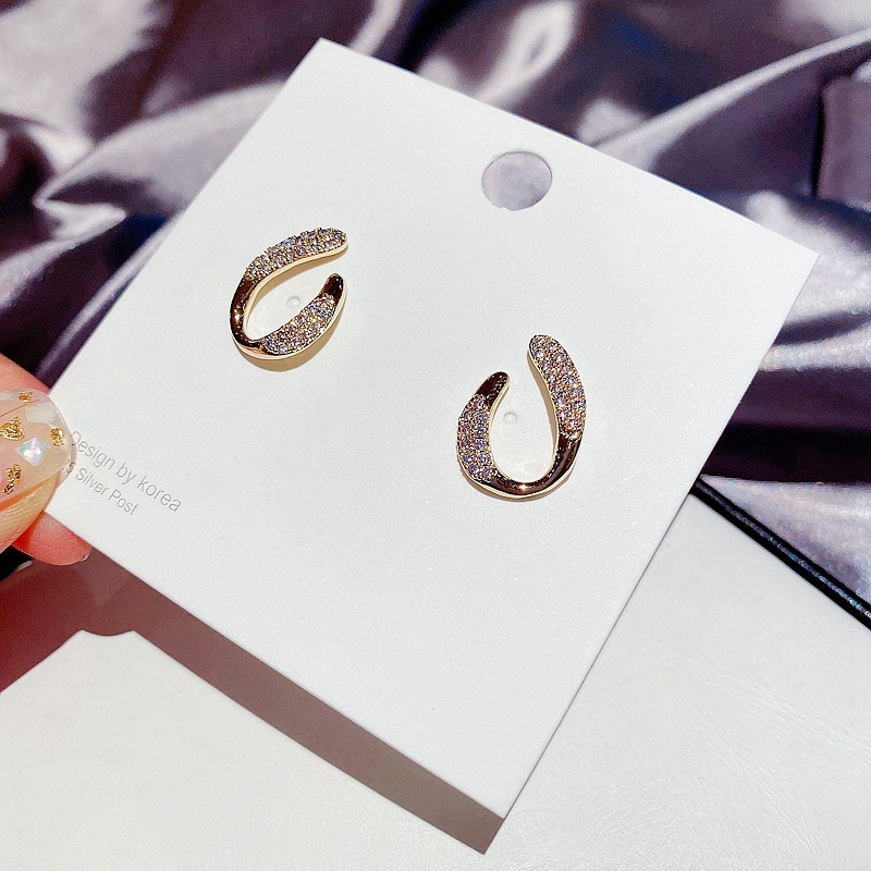 Fashion Real Gold Plated Micro-set Zircon Irregular Geometric Real Gold Plated Earrings