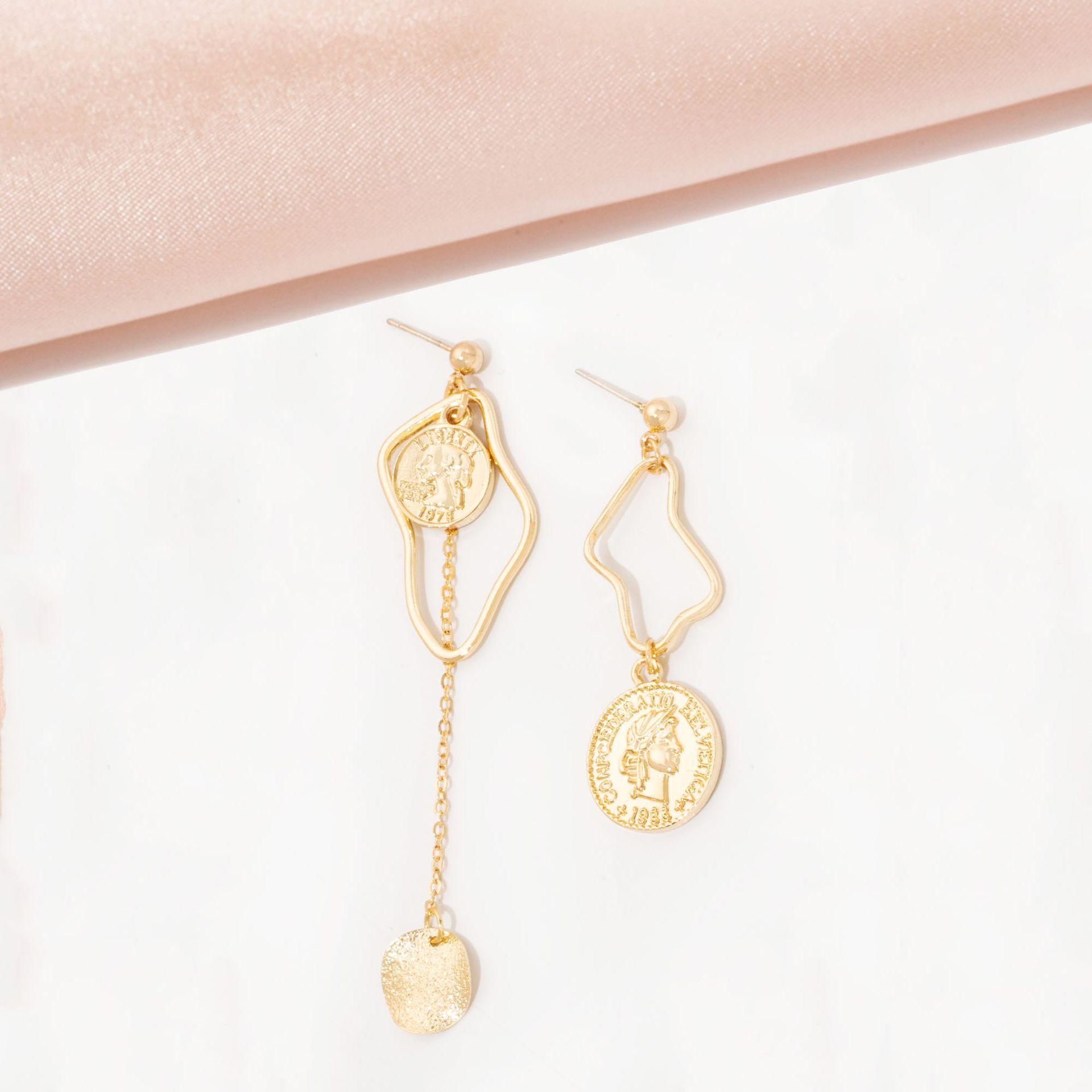 Fashion asymmetric geometric alloy earring wholesale NHAI336464