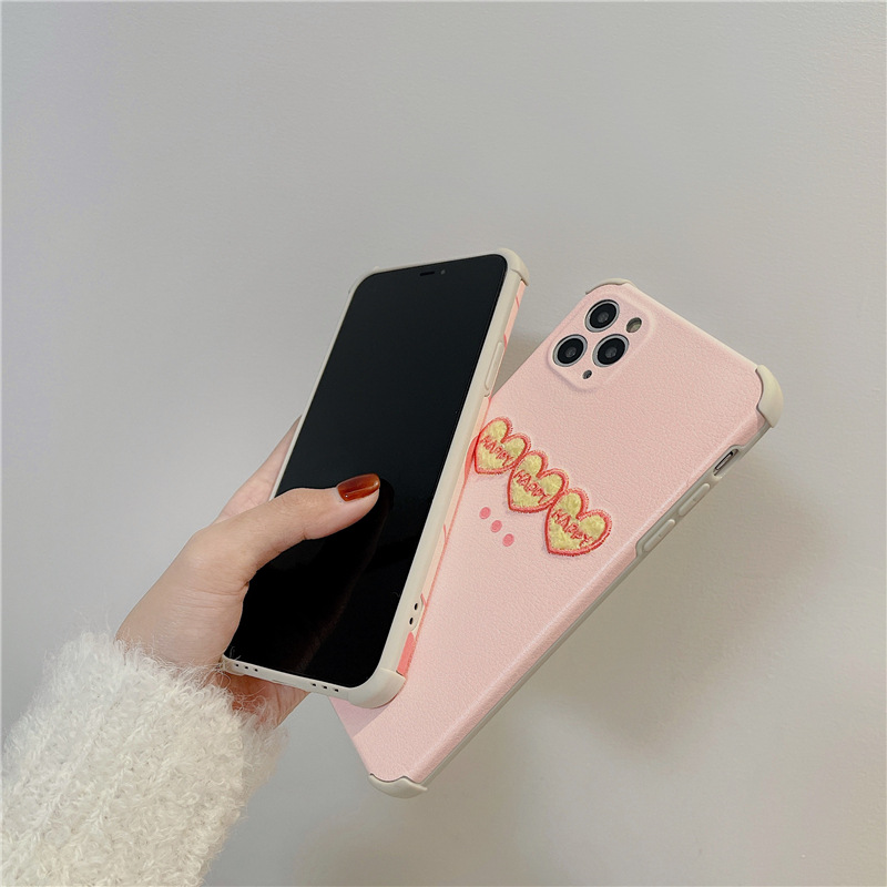 Korean embroidery pink love phone case for iPhone8plus XR NHFI308387