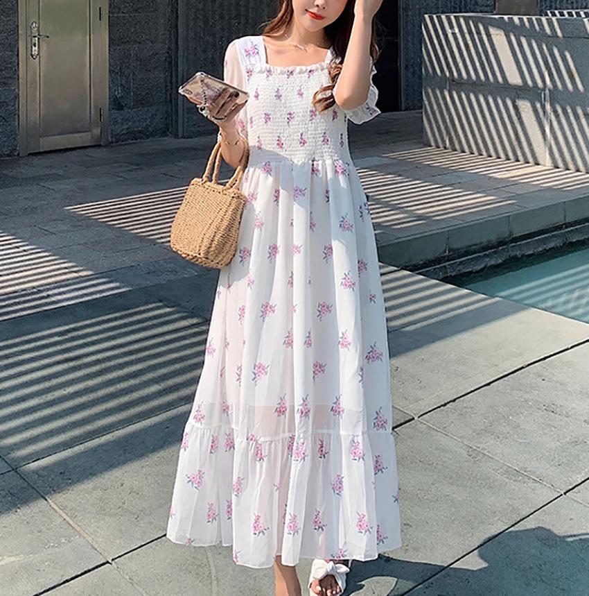 [芭缇诺]2021年夏季薄款雪纺背后蝴蝶结连衣裙淑女中长款短袖裙子