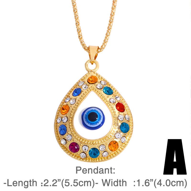 fashion alloy Turkey Blue Eyes Diamond necklace NHAS318380