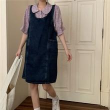 韩版牛仔背带裙女夏季学生小个子连衣裙2021新款潮可爱裙子ins风