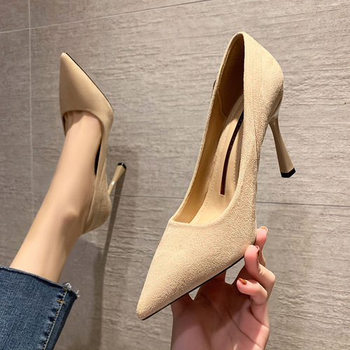 8777-6 han edition fashion pointed shallow mouth high-heeled shoes fine suede with women's shoes professional OL sexy diamond for women's shoes