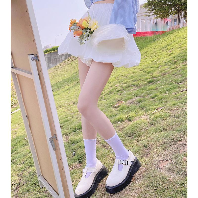 """【花苞裤】含羞少女""""纯色日记"""" 显腿长气质可爱风甜美高腰短裤"""