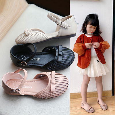 Girl s sandals little girl s bowknot soft sole baby antiskid Baotou princess shoes