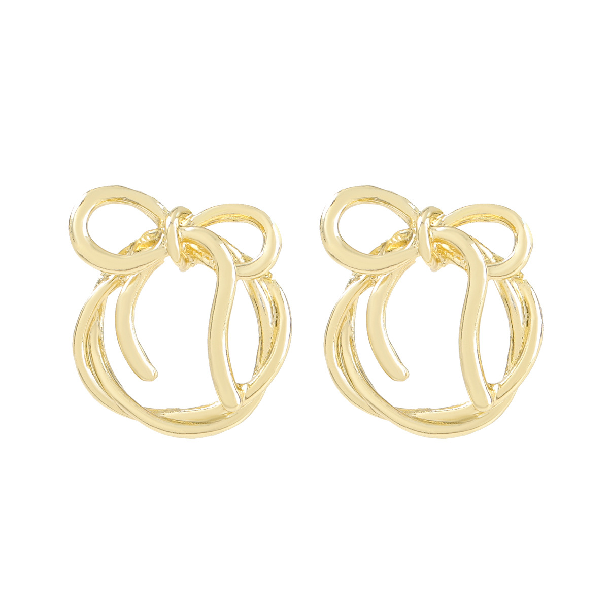 round bow alloy earrings NHJE316614