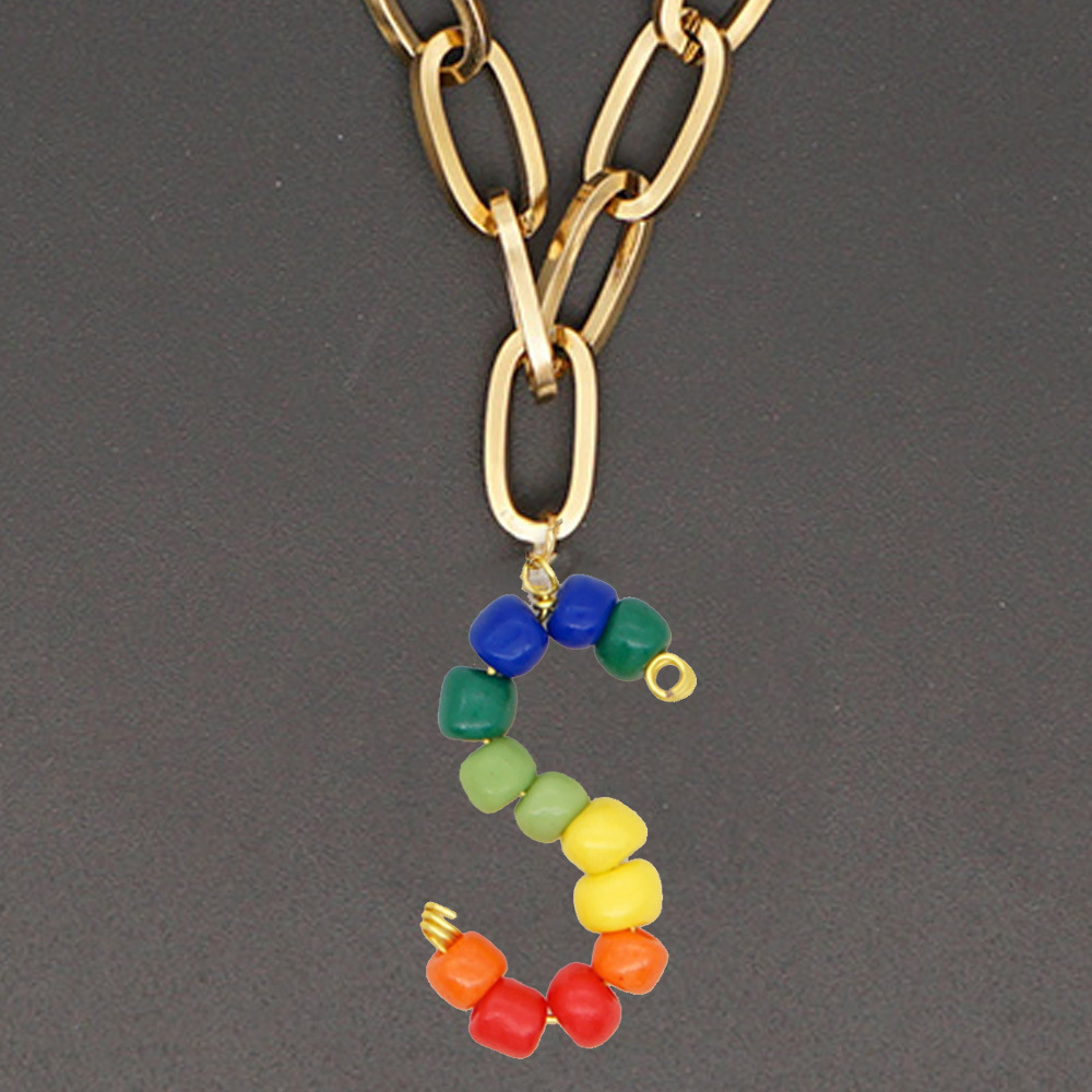 Stainless steel rainbow beaded 26 English letters necklace NHGW306987