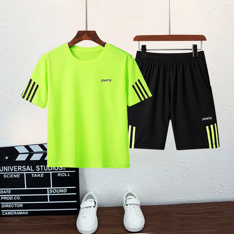 夏季2021男女童运动短袖套装中大童速干衣儿童夏装男孩足球篮球服