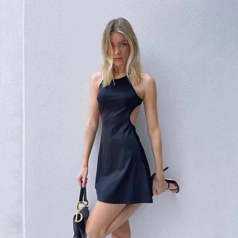 Fashion Black Round Neck Halter Print Bag Hip Dress